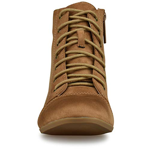 Lace Standard Camel Heel Su Closed Comfortable Bootie F4 Boot Cowboy Walking up Western Low Cowgirl Premier Casual Toe wtqZdHt