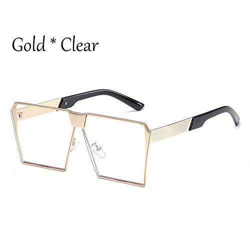 Vintage C2 Gold Cuadradas Silver Sol Sol Uv356 Unas Estilos Clear 17 De De Gafas TIANLIANG04 Tonos C5 Silver Hombre Mujer G Damas Enormes Gafas q0RPwUB