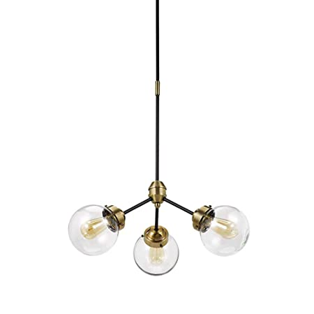 Rivet Mid-Century Modern Glass Globe Hanging Ceiling Pendant Chandelier Fixture With 3 LED Bulbs – 24.5 x 24.5 x 57 Inches, Black And Brass