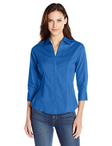 Riders by Lee Indigo Women's Easy Care ¾ Sleeve Woven Shirt, True Blue, M