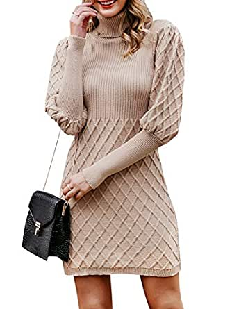 Simplee Women's Turtleneck Puff Sleeve Knitted Bodycon Mini Pullover Sweater Dress (Camel 4/6)