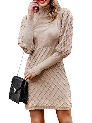 (Simplee Women's Turtleneck Puff Sleeve Knitted Bodycon Mini Pullover Sweater Dress (Camel 10))