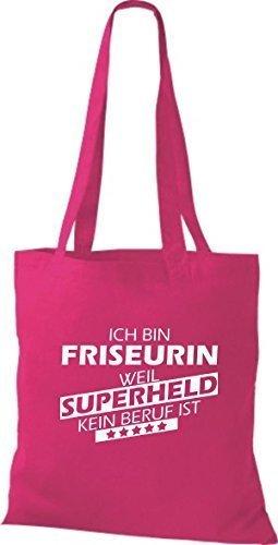 Shirtstown Stoffbeutel Ich bin Friseurin, weil Superheld kein Beruf ist fuchsia