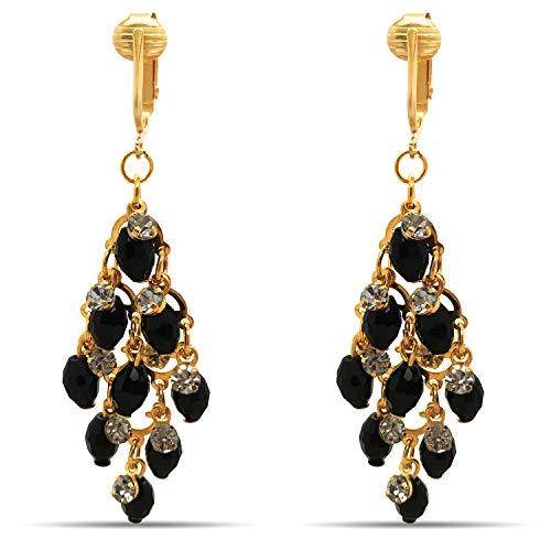 (Crystal Clip On Earrings-Sparkle Clip On Rhinestone Earrings-Clip On Dangle Earrings-Formal Earrings CZ Clip Earrings for Women, Clip On Crystal (Black Crystal Dangle))