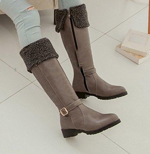 Faux Gris Mid heel Shoes largas fur Botas Womens Mee aw7qgxFH