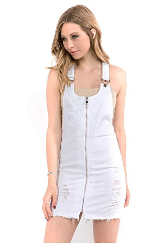 TwiinSisters Women's Cute & Sexy Slim Fitted Overall Dress with Comfort Stretch (White #rsdo2037, ()