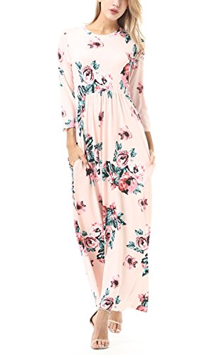 FISOUL Women Floral Printed Long Dress O-Neck 3/4 Sleeve Floor-Length Maxi Dress With Pockets Pink S