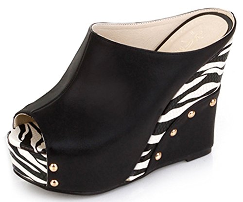 IDIFU Women's Trendy Zebra Extreme High Wedge Slip On Sandals Peep Toe Platform Mules Black 6.5 B(M) - Low Comfort Wedge Peep Toe