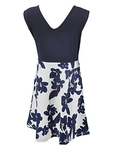 Sans Manches Col En V Imprimé Floral Casual Femmes Vrikoo Balançoire Cocktail Robe Bleue
