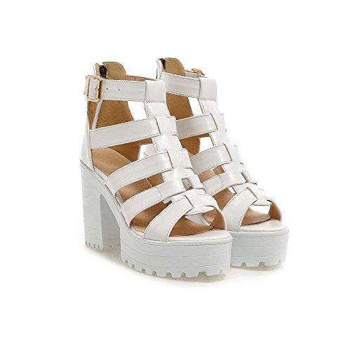 VogueZone009 Women's Solid PU High-Heels Open Toe Zipper Heeled-Sandals White HtCbWaM4