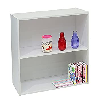 Kings Brand Furniture White Wood 2-Tier Shelf Bookcase Storage Organizer