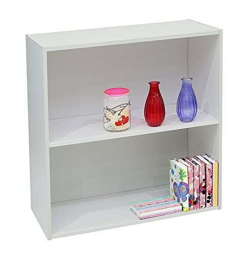 Kings Brand Furniture White Wood 2-Tier Shelf Bookcase Storage Organizer