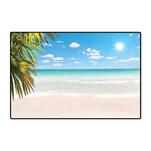 Ocean Door Mat Small Rug Dreamy Caribbean Beach with Crystal Clear Water Sky and Palm Leaves Print Bath Mat for Bathroom Mat 16