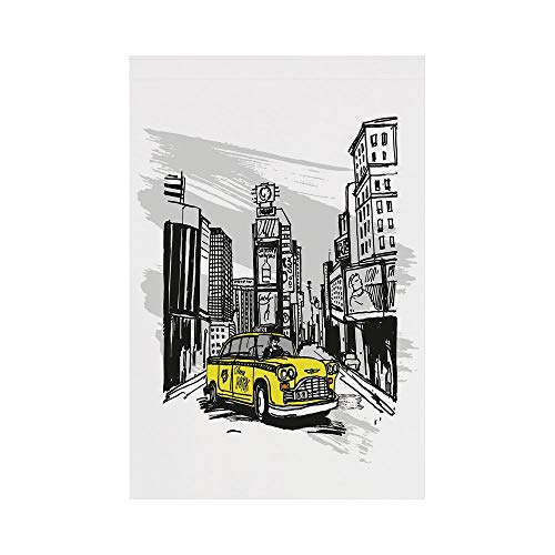 Polyester Garden Flag Outdoor Flag House Flag Banner,Sketchy,Yellow Hand Drawn Cab in New York Street Cityscape American Urban Life Art,Black Taupe Yellow,for Wedding Anniversary Home Outdoor Garden D ()