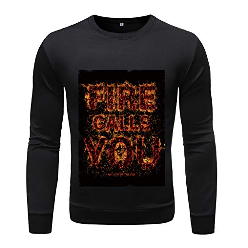 Mens Slim Fit Soft Cotton Pullover Light Crew Neck Longsleeve, MmNote Lightweight Solid Soft Feshion Print Longsleeve D-Black