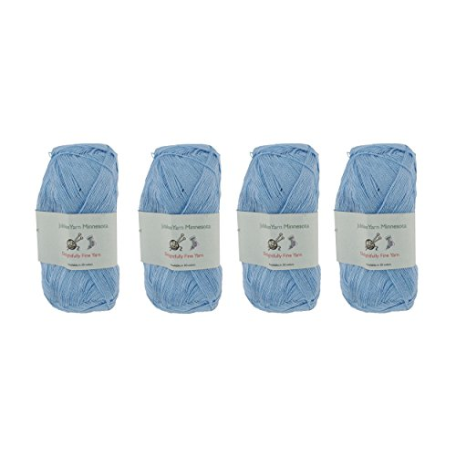 Lace Weight Tencel Yarn - Delightfully Fine - 60% Bamboo 40% Tencel Yarn - 4 Skeins - Col 07 Blue Sky