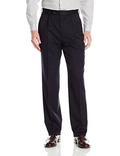 Palm Beach Men's Stan Double Reverse Pleat Dress Pant, Navy, 32W Regular by Palm Beach