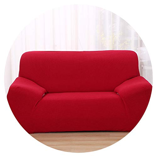 Solid Color Sofa Cover Washable Removable Stretch Towel Armrest Couch Covers Slipcovers Stretch All wrap,Wine,1 Seat 90-140cm