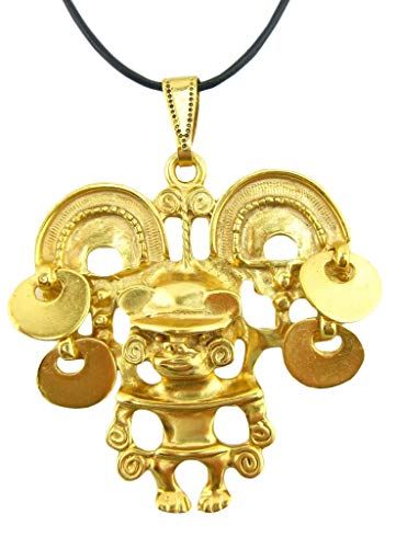 Across The Puddle, Historical Jewelry Collection, 24k Gold Plated Pre-Columbian Tairona Shaman with Exotic Hat Pendant Necklace
