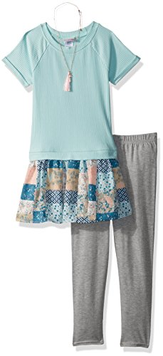 Youngland Green - Youngland Girls' Little Tunic with Necklace and Legging Outfit, Mint Multi, 5