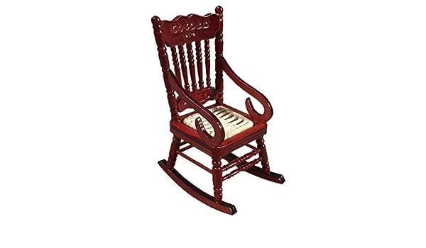 Stupendous Amazon Com Hatop 1 12 Miniature Wooden Rocking Chairs Mini Theyellowbook Wood Chair Design Ideas Theyellowbookinfo