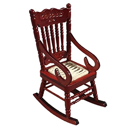 Retro Mini Dining Rocking Chair for 1:12 Mini Dollhouse Kitchen Furniture - Gbell Dollhouse White Red Dining Table Chair Miniatures Accessory Pretend Toys Gifts for Little Girls Gifts (Red)