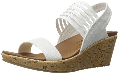 Skechers Cali Women's Beverlee Smitten Kitten Wedge Sandal,Off-White Cork,11 M US