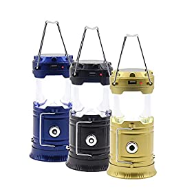 FAMONEY LED Camping Lantern, Solar Rechargeable Collapsible LED Camping Light & Handheld Flashlight in the Bottom for Backpacking, Hiking, Fishing, Outdoor Lighting