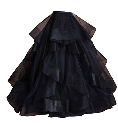 flowerry Tiered Ruffle Organza Skirt Detachable Wedding Bridal Skirt Ceremony Reception Engagement Halloween Ball Gown (M, dBlack) ()