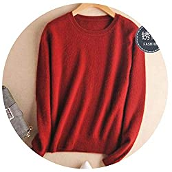 Autumn Winter Cashmere Cotton Blended Knitted Women Sweaters And Pullovers Jersey Xxx Large Burgundy