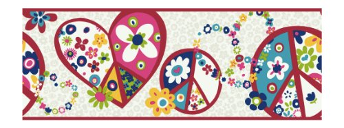 York Wallcoverings PW3920B Girl Power 2 Peace Sign Border, White Background/Hot Pink Band