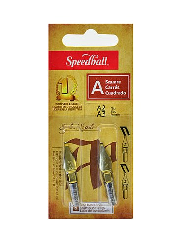 Speedball Lettering and Drawing Square Pen Nibs A Style A-2/A-3 pack of 2 [PACK OF 6 ] by Speedball