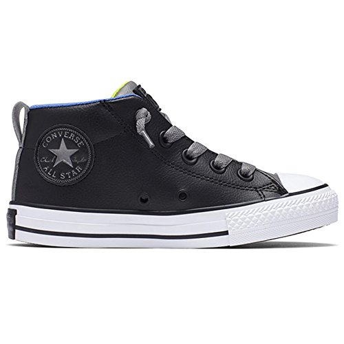 Converse Youths Chuck Taylor Street Mid Slip On Black Leather Trainers 3 - Youth 3 Converse Size