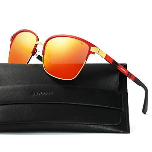 AEVOGUE Polarized Sunglasses Square Premium Full Mirrored Retro Unisex Glasses AE0524 Red