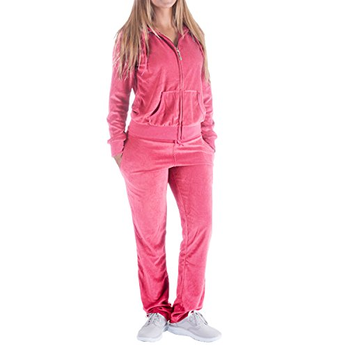 Women's 2 Piece Outfits Oversize Velvet Zip Hoodie Sweatshirt & Pants Sweatsuits and Velour Tracksuit Jogging Suit ()