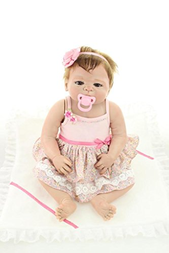 NPKDOLL Reborn Baby Doll Hard Simulation Silicone Vinyl 22inch 55cm Lifelike Vivid Waterproof Girl Toy Pink Dress Flower (Halloween Rag Doll Face Paint)