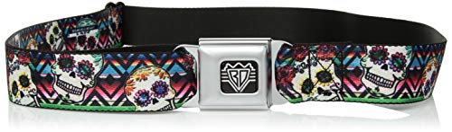 Buckle-Down - Cinturón de seguridad con hebillas (tamaño XL), Sugar Skulls Zarape Multi Color, 1.5' Wide - 32-52 Inches