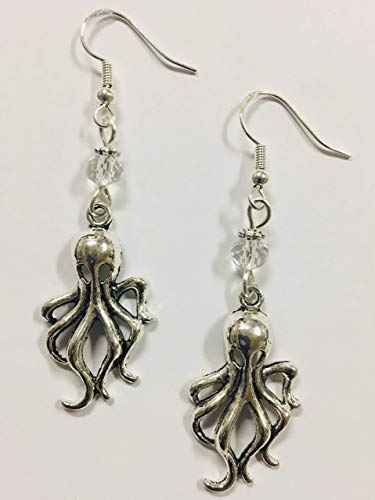 Octopus or Squid Earrings, Beach Earrings, Nautical Earrings, Coastal Earrings - with turquoise faceted crystal accent beads, on sterling silver -