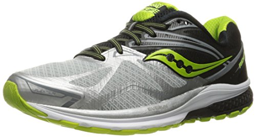 [Saucony Men's Ride 9 Running Shoes, Multicolour (Silver/Black/Lime), 7 UK] (Ride Silver Shoes)