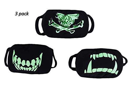 IPENNY 3 Pack Personalized Fluorescent Luminous Mouth Mask Breathable Washable Cotton Mask Anti-dust Fashion Horror Skull Head Teeth Pattern Halloween Mask for Men Women ()