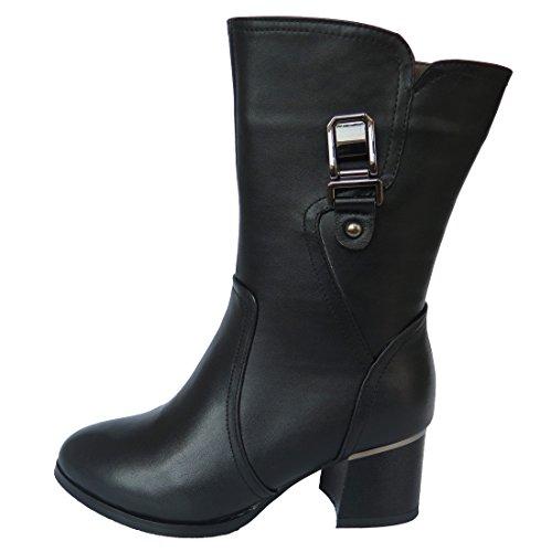 Schwarz Stiefeletten Innerhalb Vevelt Neuer Schuhe Schnee Heel Frauen Winter Low Chunky Ladies gnqpPf