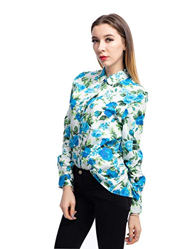 (ERZTIAY Women's Blouses Casual Long Sleeve Work Button Down Dress Hawaiian Shirts Tops(White Blue Penoy, Small) )