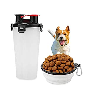 Portable 2 in 1 Dog Drinking Water Bottle Food Container Set with Bowl for Pet Dog Training Outdoor Walk Water Drinking… Click on image for further info.
