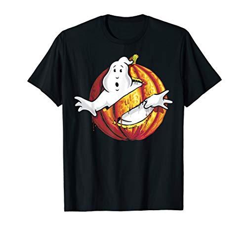 Ghostbusters Classic Logo Halloween Pumpkin Graphic T-Shirt -
