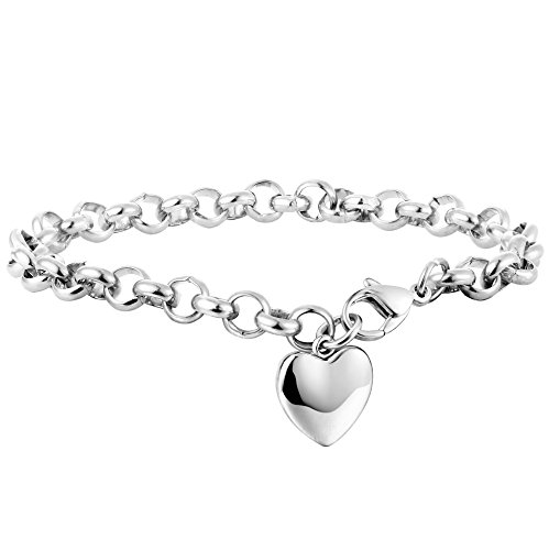 Besteel Stainless Steel Chain Link Bracelets for Women with Finish Heart Charm Bracelet White Color (Heart Charm Chain Bracelet)