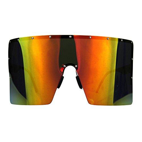 Polarized Mirror Lens Visor Shield Sunglasses Oversized Sun Cover Gold, - Sun Visor Oversized