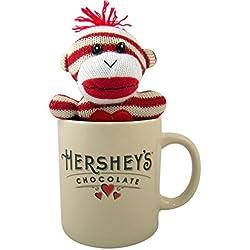 Striped Sock Monkey in Ceramic Hershey's Chocolate Coffee Mug, 24 Ounce
