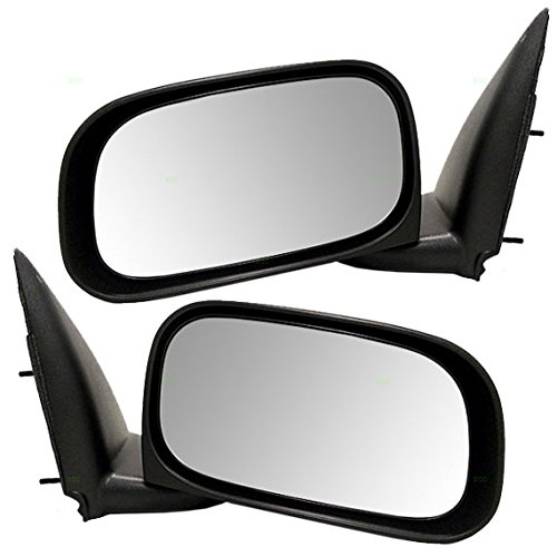 Driver and Passenger Manual Side View Mirrors Textured Replacement for Dodge Mitsubishi Pickup Truck 55112641AD 55112640AD