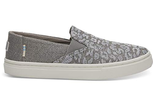 TOMS Kids Girl's Luca (Little Kid/Big Kid) Neutral Gray Cheetah Embroidery/Twill Glimmer 12.5 M US Little Kid (Toms Light Gray)