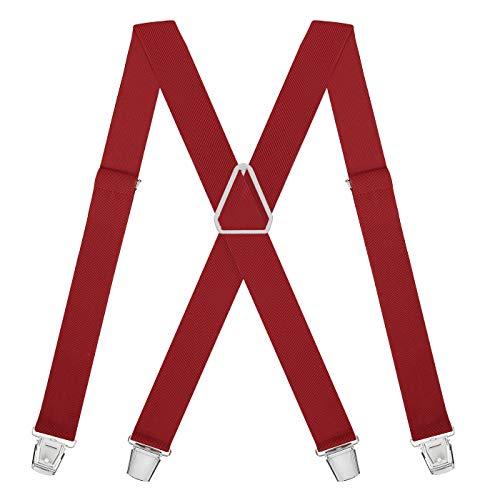 HDE X-Back Suspenders for Men Adjustable Clip-On Elastic Shoulder Strap Braces (Red, 42 inches) -
